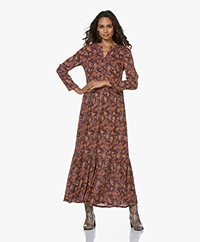 indi & cold Maxi A-line Print Dress - Aubergine
