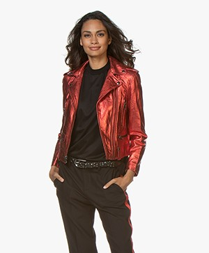 Zadig & Voltaire Lenni Metallic Leather Jacket - Red