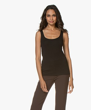 no man's land Basic Viscose Top - Zwart