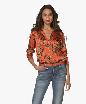 LaSalle Satijnen Bladprint Blouse - Oranje