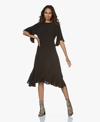 by-bar Pam Viscose Ruffle Dress - Black