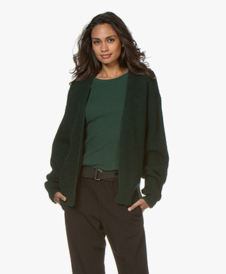 by-bar Short Open Ribbed Cardigan - Dark Green