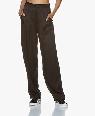 Resort Finest Fico Loose-fit Satin Pants - Black
