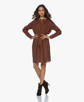 by-bar Neeltje Cotton Mini Check Dress - Cognac