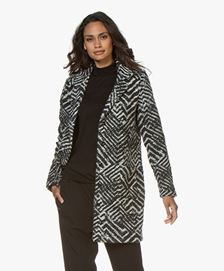 Belluna Mina Oversized Jacquard Cardigan – Grey