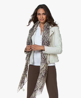 no man's land Silk Blend Leopard Print Scarf - Brown