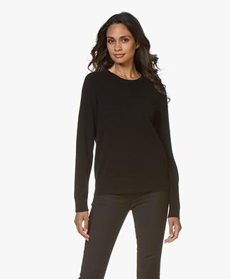 Repeat Luxury Round Neck Cashmere Pullover - Black