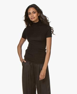 Josephine & Co Jeanine Lurex Short Sleeve Turtleneck - Black