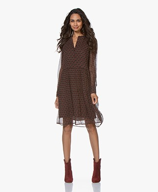 no man's land Crepe Chiffon Print Shirt Dress - Carmine