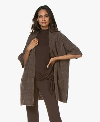 no man's land Mohair Blend Cardigan with Elbow-length Sleeves - Mink