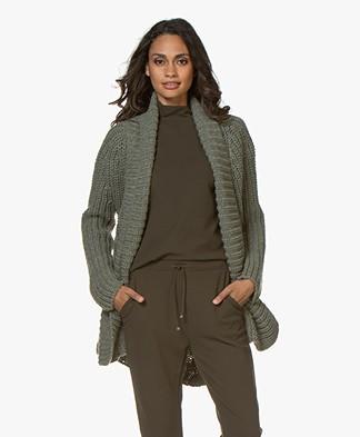 indi & cold Chunky Knit Open Cardigan - Khaki