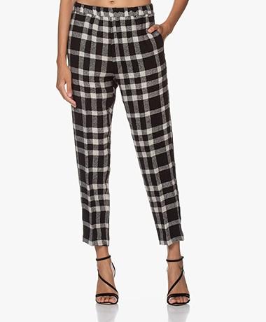 Pomandère Wool Blend Check Pants - Black/Off-white