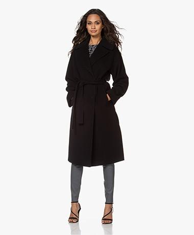 no man's land Oversized Wool Blend Coat - Core Black