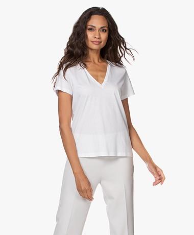 Drykorn Nilia Katoenen V-hals T-shirt - Wit