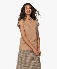 Drykorn Namira Lyocell Mix Mock T-shirt - Warm Sand