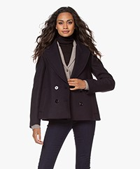 Drykorn Iverness Double-breasted Wool Blend Coat - Dark Navy