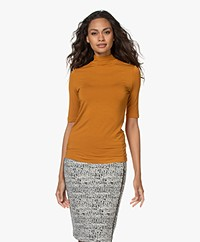 Kyra & Ko Suzet Viscose Mock Neck T-shirt - Gold Spice