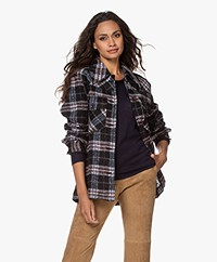 Les Coyotes De Paris Nica Checkered Overshirt - Black/Blue/Eggplant