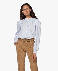 Closed Kea Poplin Blouse met Pofmouwen - Arctic Ice