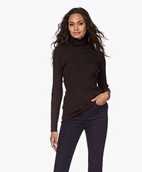 no man's land Merino Ribbed Turtleneck Sweater - Double Espresso