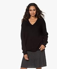 Sibin/Linnebjerg Olympia Mohair Blend V-neck Sweater - Black