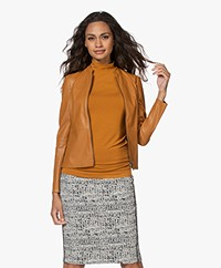 Kyra & Ko Ashtin Faux Leather Blazer Jacket - Gold Spice