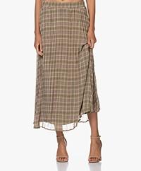Josephine & Co Jessica Pleated Chiffon Check Maxi Skirt - Wasabi Green