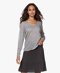 Josephine & Co Jet Lurex V-neck Sweater - Silver Grey