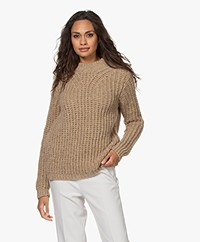 Pomandère Fisherman's Rib Sweater with Lurex - Beige/Gold