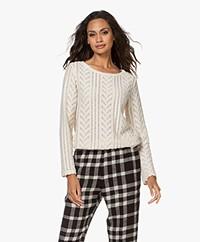Pomandère Lace Cotton Blend Sweater - Cream