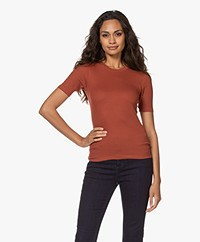 Rag & Bone The Rib Slim Modalmix T-shirt - Warm Rood