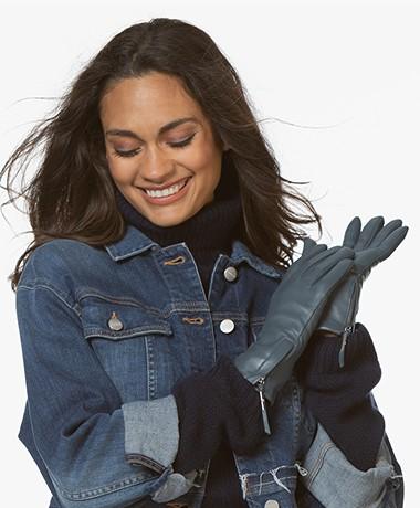 Filippa K Women Zip Gloves - Blue Slate
