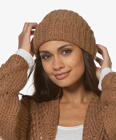 Sibin/Linnebjerg December Alpacamix Rib Muts - Brown Sugar