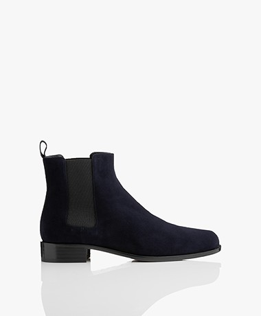 Panara Chelsea Suede Leather Boots - Dark Blue