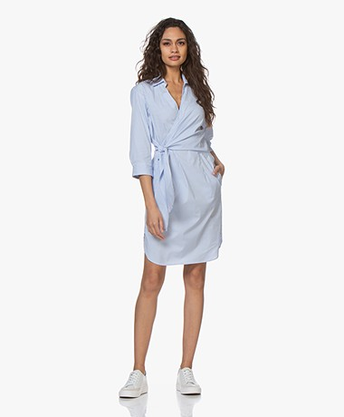 LaSalle Striped Poplin Wrap Shirt Dress - Light Blue/White