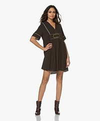 ba&sh Talia Dress with Embroidered Details - Carbon