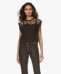Zadig & Voltaire Tetro Lace Top with Silk - Black