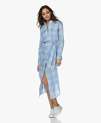 Josephine & Co Boris Checkered Maxi Shirt Dress - Light Blue/White