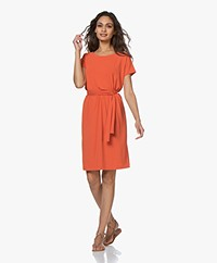 no man's land Crepe Jersey Short Sleeve Dress - Soft Tangerine