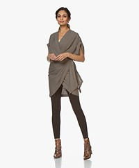 IRO Gidya Linen Wrap Mini Dress - Khaki