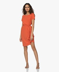 no man's land Crepe Jersey Short Sleeve Dress - Soft Tangerine