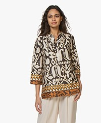 LaSalle Printed Cotton Blouse - Beige/Black