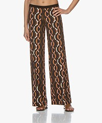 SIYU Dalida Tech Jersey Printed Pants - Brown/Pink/Black