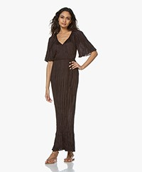 Mes Demoiselles Twinkie Twisted Silk Maxi Dress - Charocoal