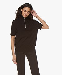 Filippa K Terrie Cotton Blend Zip Turtleneck - Black