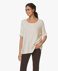 Repeat Short Sleeve Rib Sweater - Light Beige