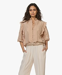 IRO Redona Muslin Blouse with Lace - Blush Pink