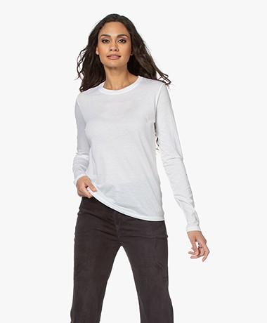 Vince Essential Crew Pima Cotton Long Sleeve - White