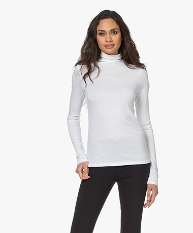 Vince Essential Pima Katoenen Colshirt - Optic White