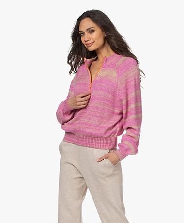 American Vintage Hyzrow Cashmere Mix Zip Sweater - Raspberry Melange